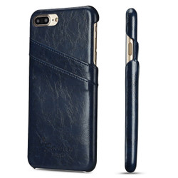 iPhone 8 Plus & iPhone 7 Plus Case Blue Deluxe Leather Cover With 2 Exterior Card Slots | Leather iPhone 8 PLUS & 7 PLUS Covers | Leather iPhone 8 PLUS & 7 PLUS Cases | iCoverLover