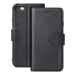 iPhone 8 and 7 Case Black Genuine Leather Folio Wallet Case with 2 Card Slots, 1 Cash Slot, Anti-Scratch and Wear Resistant | Genuine Leather iPhone 8 & 7 Cases | Genuine Leather iPhone 8 & 7 Covers