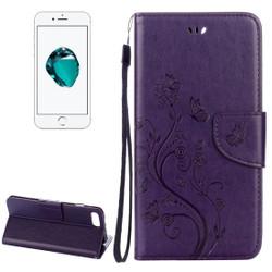 Purple Butterflies Emboss Leather Wallet iPhone 8 PLUS & 7 PLUS Case | Leather Wallet iPhone 8 PLUS & 7 PLUS Cases | Leather iPhone 8 PLUS & 7 PLUS Covers | iCoverLover