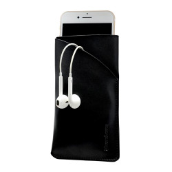 iPhone 8, 7, 6S & 6 Black Top-grain Genuine Leather Pouch, Headphone Case, Anti-Scratch, Anti-Slip and Wear-and-Tear Resistant | Genuine Leather iPhone 6, 6S & 8 & 7 Cases | Genuine Leather iPhone 6, 6S & 8 & 7 Covers | iCoverLover