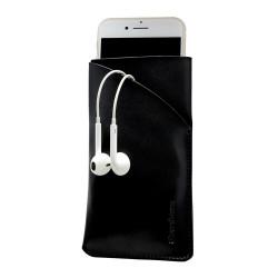 iPhone 8, 7, 6S & 6 Black Top-grain Genuine Leather Pouch, Headphone Case, Anti-Scratch, Anti-Slip and Wear-and-Tear Resistant   Genuine Leather iPhone 6, 6S & 8 & 7 Cases   Genuine Leather iPhone 6, 6S & 8 & 7 Covers   iCoverLover