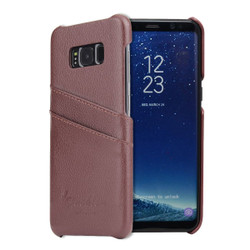 Samsung Galaxy S8 Plus Case Brown Genuine Leather Cover With 2 Exterior Card Slots And Enhanced Anti Slip Grip | Genuine Leather Samsung Galaxy S8 PLUS Cases | Genuine Leather Samsung Galaxy S8 PLUS Covers | iCoverLover