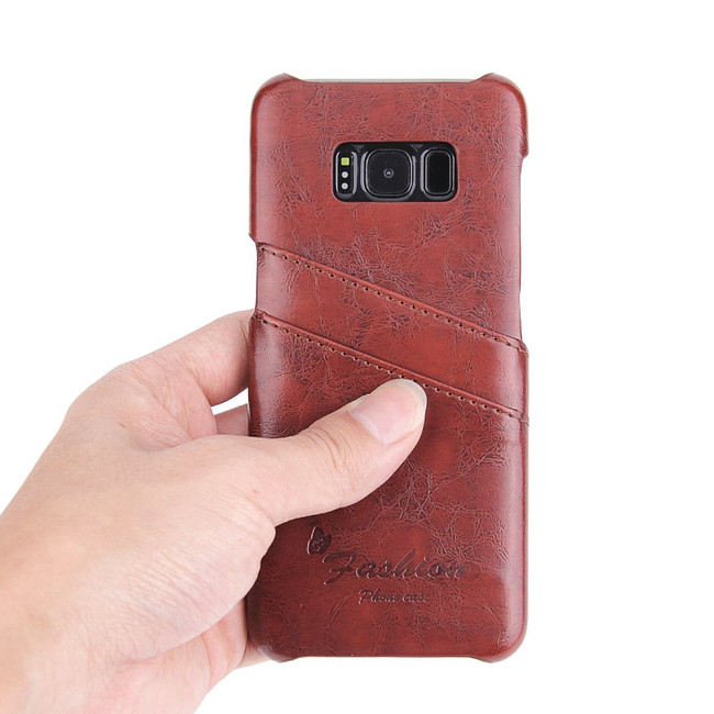 Samsung Galaxy S8 PLUS Case Brown Deluxe Leather Shell Cover with Card Slots| Leather Samsung Galaxy S8 PLUS Covers | Leather Samsung Galaxy S8 PLUS Cases | iCoverLover