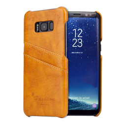 Samsung Galaxy S8 PLUS Case Yellow Deluxe Leather Shell Cover with Card Slots | Leather Samsung Galaxy S8 PLUS Covers | Leather Samsung Galaxy S8 PLUS Cases | iCoverLover