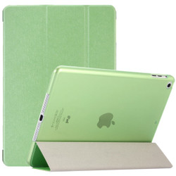 Green Silk Textured 3-fold Leather iPad 2017 9.7-inch Case | Leather iPad 2017 Cases | iPad 2017 Covers | iCoverLover