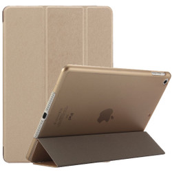 Gold Silk Textured 3-fold Leather iPad 2017 9.7-inch Case | Leather iPad 2017 Cases | iPad 2017 Covers | iCoverLover