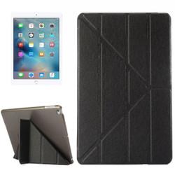 Black Silk Textured 3-folding Leather iPad 2017 9.7-inch Case | Leather iPad 2017 Cases | iPad 2017 Covers | iCoverLover