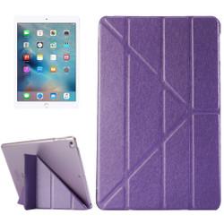 Purple Silk Textured 3-folding Leather iPad 2017 9.7-inch Case  | Leather iPad 2017 Cases | iPad 2017 Covers | iCoverLover