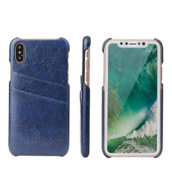 iPhone XS & X Case Blue Deluxe PU Leather and Hard Plastic Back Cover with 2 Card Slots, and Slim and Lightweight Build | Leather iPhone XS & X Covers | Leather iPhone XS & X Cases | iCoverLover