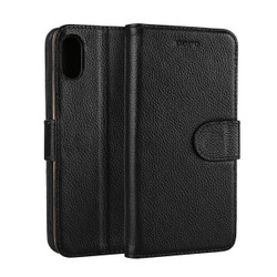 iPhone XS & X Case Black Fashion Cowhide Genuine Leather Flip Cover with 2 Card Slots, 1 Cash Slot, and Built-in Stand | Genuine Leather iPhone XS & X Covers Cases | Genuine Leather iPhone XS & X Covers | iCoverLover