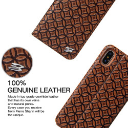 iPhone XS & X Case Brown Fierre Shann Copper Coin Leather Wallet Cover with 1 Card Slot, Magnetic Closure, and Stand | Leather iPhone XS & X Cases | Leather iPhone XS & X Covers | iCoverLover