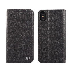 iPhone XS & X Case Black Fierre Shann Crocodile Genuine Cow Leather with 1 Card Slot, Built-in Kickstand, and Anti-Slip | Leather iPhone XS & X Cases | Leather iPhone XS & X Covers | iCoverLover
