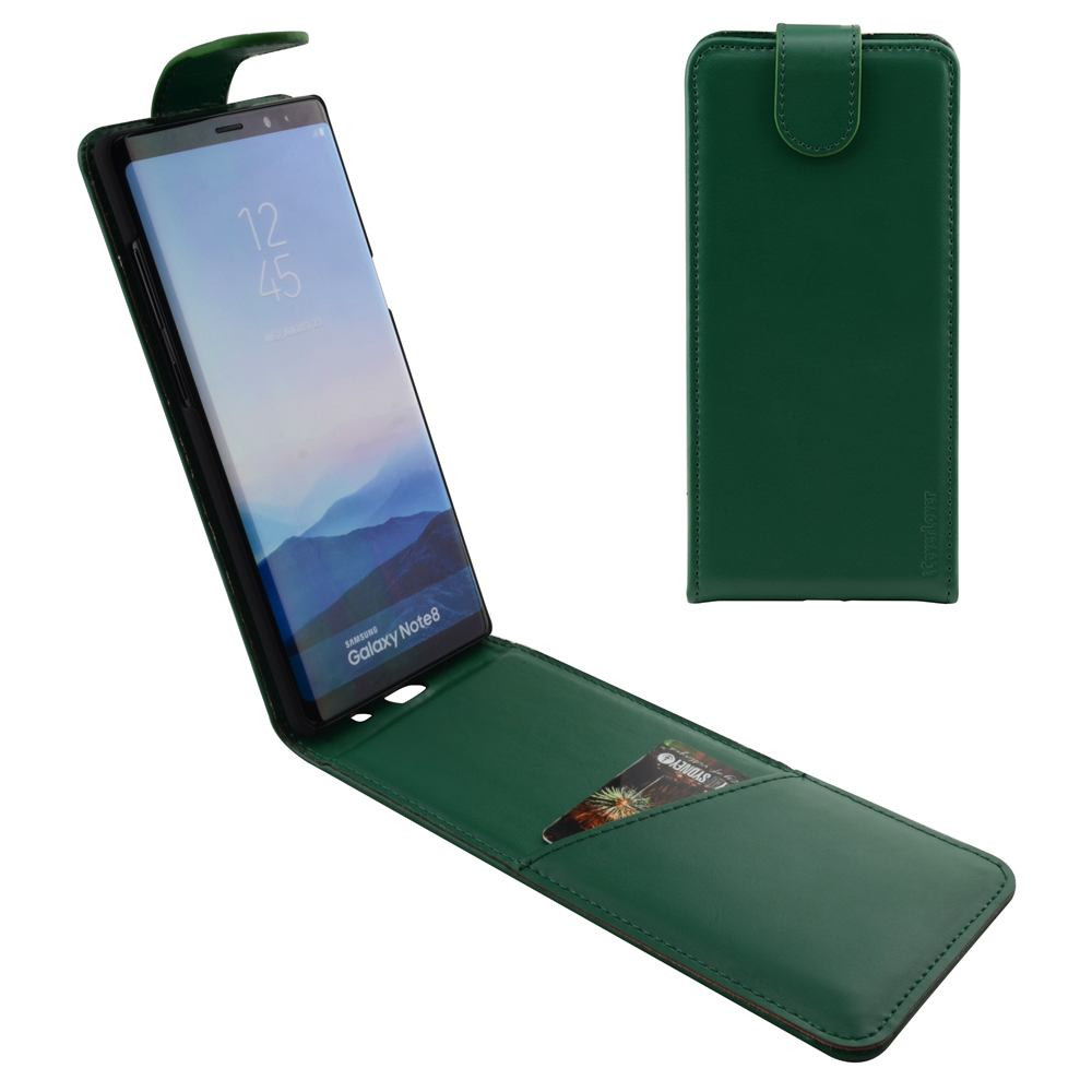 Samsung Galaxy Note 8 Case iCoverLover Green Vertical Flip Genuine Leather  Cover, Magnetic Flap, 1 Cash Compartment