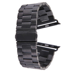 Black Apple Watch 1,2,3,4 (44mm,42mm) Butterfly Stainless Steel Watch Strap | Stainless Steel Apple Watch Bands | iCoverLover