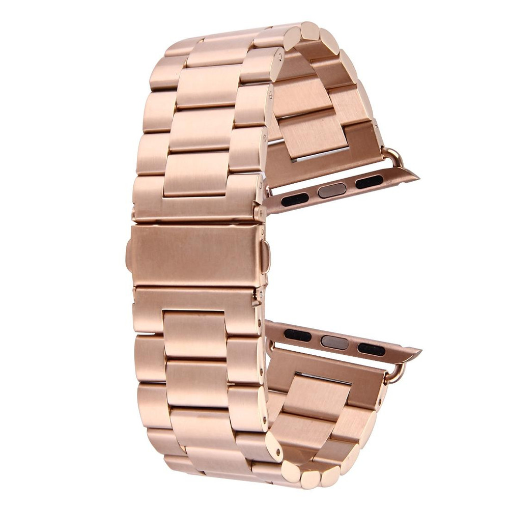 Rose Gold For Apple Watch 1,2,3,4 (44mm,42mm) Butterfly Stainless Steel Watch Strap