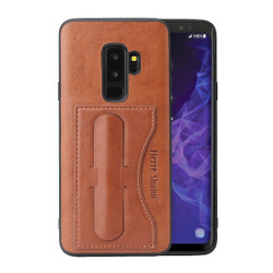 Samsung Galaxy S9 PLUS Case Brown Fierre Shann Luxury PU Leather Back Cover with Kickstand and 1 Exterior Card Slot | Leather Samsung Galaxy S9 Plus Cases | Leather Samsung Galaxy S9 Plus Covers | iCoverLover