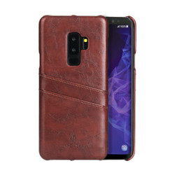 Samsung Galaxy S9 Case Brown Deluxe PU Leather Back Shell with 2 Card Slots, Anti-Slip, Shockproof & Scratch-proof | Leather Samsung Galaxy S9 Covers | Leather Samsung Galaxy S9 Cases | iCoverLover