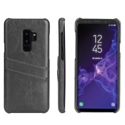 Samsung Galaxy S9 Case Grey Deluxe PU Leather Back Shell with 2 Card Slots, Anti-Slip, Shockproof & Scratch-proof | Leather Samsung Galaxy S9 Covers | Leather Samsung Galaxy S9 Cases | iCoverLover