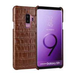 Samsung Galaxy S9 PLUS Case Brown Crocodile Texture Genuine Leather Back Shell with Enhanced Grip and Shock-resistant | Genuine Leather Samsung Galaxy S9 Plus Cases | Genuine Leather Samsung Galaxy S9 Plus Covers | iCoverLover