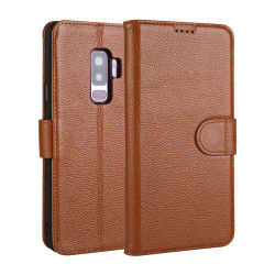 Samsung Galaxy S9 PLUS Case Brown Fashion Cowhide Genuine Leather Flip Cover with 2 Card Slots and 1 Cash Compartment | Genuine Leather Samsung Galaxy S9 Plus Covers Cases | Genuine Leather Samsung Galaxy S9 Plus Covers