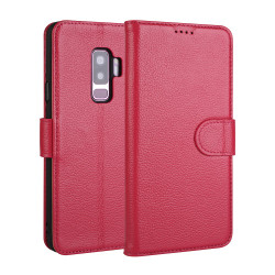 Samsung Galaxy S9 Case Pink Fashion Cowhide Genuine Leather Flip Cover with 2 Card Slots, 1 Cash Slot & Shockproof | Genuine Leather Samsung Galaxy S9 Covers Cases | Genuine Leather Samsung Galaxy S9 Covers