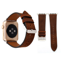 Coffee Perforated Genuine Leather Wristwatch Strap 44mm,42mm for Apple Watch Series 1,2,3 and 4   Genuine Leather Apple Watch Bands   iCoverLover