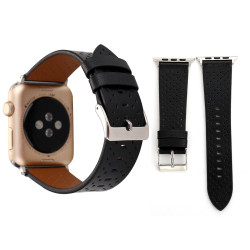 Black Perforated Genuine Leather Wristwatch Strap 44mm,42mm for Apple Watch Series 1,2,3 and 4 | Genuine Leather Apple Watch Bands | iCoverLover