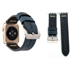 Blue Retro Genuine Leather Wristwatch Strap 44mm,42mm for Apple Watch Series 1,2,3 and 4   Genuine Leather Apple Watch Bands   iCoverLover
