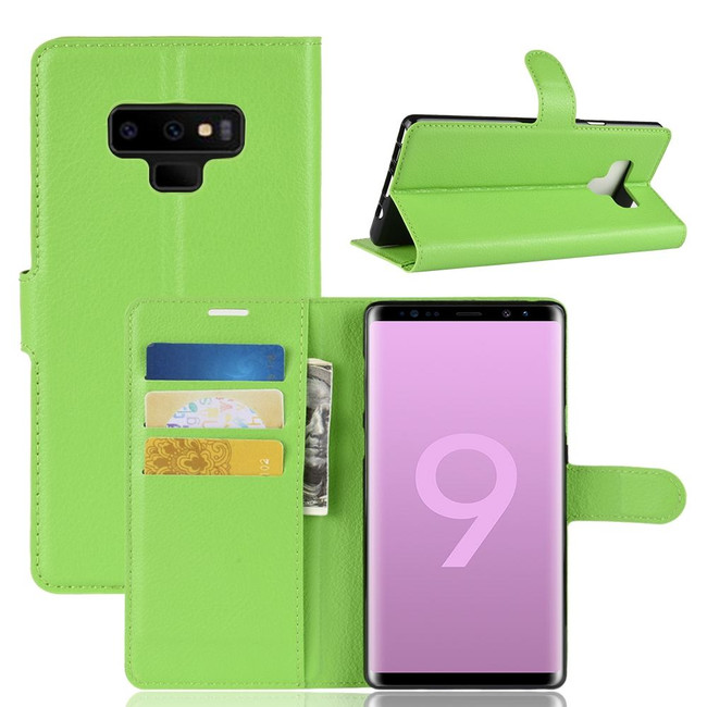 Samsung Galaxy Note 9 Case Green Lychee Texture Leather Wallet Cover With Kickstand and Card Slots | Faux Leather Samsung Galaxy Note 9 Cases | iCoverLover