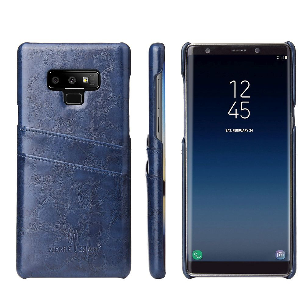 quality design 32d8d a34a8 Samsung Galaxy Note 9 Case Blue Deluxe Leather Back Shell Cover