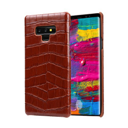 Samsung Galaxy Note 9 Case Brown Genuine Crocodile Leather Back Shell Cover   Samsung Galaxy Note 9 Genuine Leather Covers   Samsung Galaxy Note 9 Leather Cases   iCoverLover