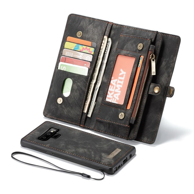 Samsung Galaxy Note 9 Leather Wallet Case Black Detachable Flip Cover with Card Slots and Kickstand | Leather Samsung Galaxy Note 9 Cases | iCoverLover
