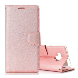 Samsung Galaxy Note 9 Leather Wallet Case Rose Gold Silk Texture Flip Cover with Card Slots and Kickstand | Leather Samsung Galaxy Note 9 Covers | Leather Samsung Galaxy Note 9 Cases | iCoverLover