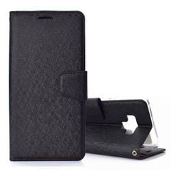 Samsung Galaxy Note 9 Leather Wallet Case Black Silk Texture Flip Cover with Card Slots and Kickstand   Leather Samsung Galaxy Note 9 Covers   Leather Samsung Galaxy Note 9 Cases   iCoverLover