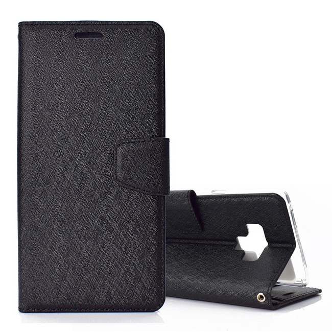 Samsung Galaxy Note 9 Leather Wallet Case Black Silk Texture Flip Cover with Card Slots and Kickstand | Leather Samsung Galaxy Note 9 Covers | Leather Samsung Galaxy Note 9 Cases | iCoverLover