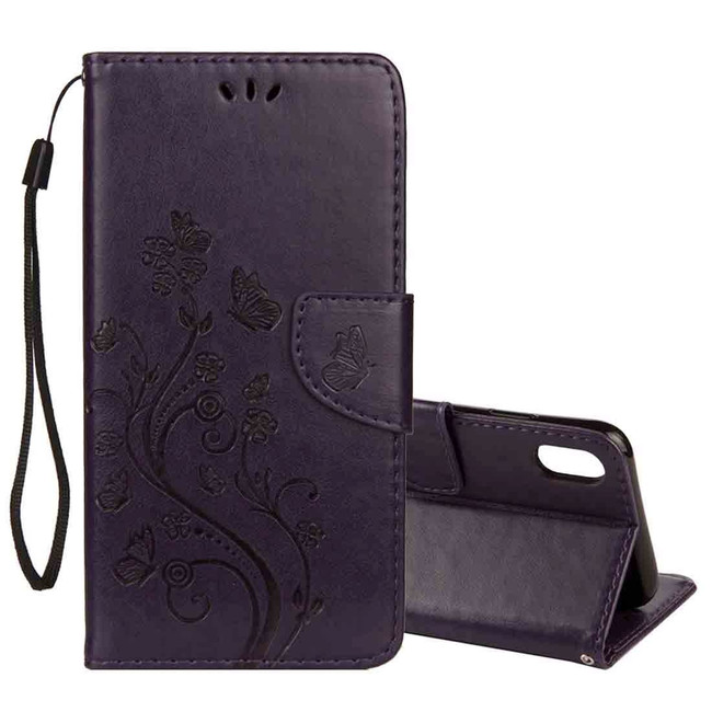 iPhone XS Max Dark Purple Embossed Butterfly Pattern Horizontal Flip Leather Cover with Card Slots and Lanyard | Protective Apple iPhone XS Max Covers | Protective Apple iPhone XS Max Cases | iCoverLover