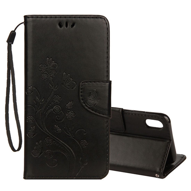 iPhone XS Max Black Embossed Butterfly Pattern Horizontal Flip Leather Cover with Card Slots and Lanyard | Protective Apple iPhone XS Max Covers | Protective Apple iPhone XS Max Cases | iCoverLover