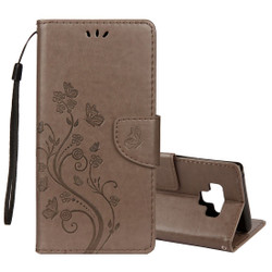 Galaxy Note 9 Case Grey Embossed Butterfly Pattern Horizontal Flip Leather Cover with Card Slots and Lanyard  Leather Samsung Galaxy Note 9 Covers   Leather Samsung Galaxy Note 9 Cases   iCoverLover