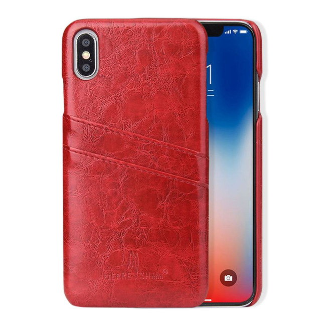 iPhone XS MAX Case Red Deluxe PU Leather Back Shell with 2 Card Slots, Ultra Slim Build & Impact-Resistant | Leather iPhone XS MAX Covers | Leather iPhone XS MAX Cases | iCoverLover
