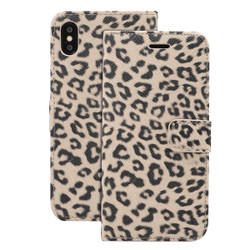 iPhone XR Case Yellow Leopard Pattern Leather Horizontal Flip Wallet Cover with Holder & Card Slots | Leather Apple iPhone XR Covers | Leather Apple iPhone XR Cases | iCoverLover