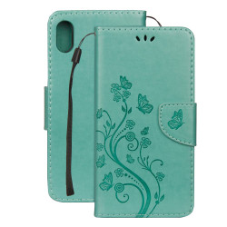 iPhone XR Case Green Embossed Butterfly Pattern Horizontal Flip Leather Case with Holder, Lanyard & Wallet | Leather Apple iPhone XR Covers | Leather Apple iPhone XR Cases | iCoverLover