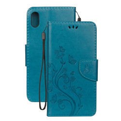 iPhone XR Case Blue Embossed Butterfly Pattern Horizontal Flip Leather Case with Holder, Lanyard & Wallet | Leather Apple iPhone XR Covers | Leather Apple iPhone XR Cases | iCoverLover