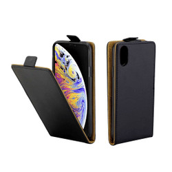 iPhone XS Max Case Black Business-Style Vertical Flip TPU Leather Wallet Cover with Card Slot | Leather Apple iPhone XS Max Covers | Leather Apple iPhone XS Max Cases | iCoverLover