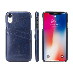 iPhone XR Case Blue Deluxe PU Leather Back Cover with 2 Exterior Card Slots, Slim Build, Anti-Scratch & Shockproof   Leather iPhone XR Covers   Leather iPhone XR Cases   iCoverLover