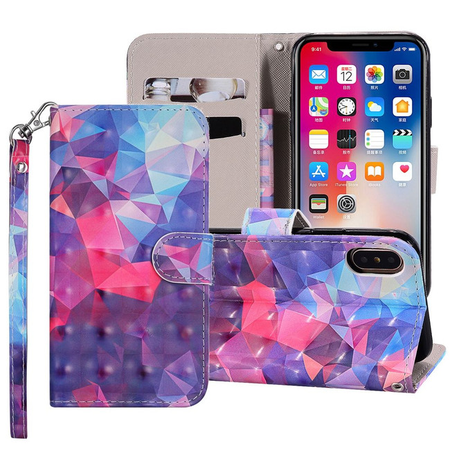 iPhone XS Max Case 3D Color Grid Patterned Drawing Horizontal Leather Wallet Cover with Card Slots, Lanyard, & Kickstand | Leather Apple iPhone XS Max Covers | Leather Apple iPhone XS Max Cases | iCoverLover