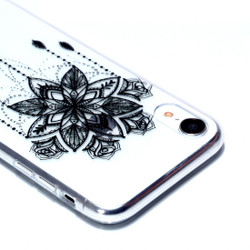 iPhone XR Case Black Flower Chime Varnish Painting Transparent Soft TPU Back Cover | Protective Apple iPhone XR Covers | Protective Apple iPhone XR Cases | iCoverLover