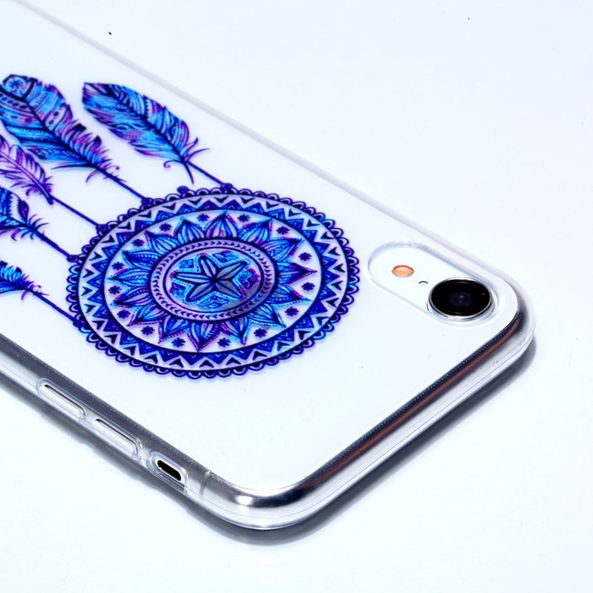 iPhone XR Case Blue Dreamcatcher Varnish Painting Transparent Soft TPU Back Cover | Protective Apple iPhone XR Covers | Protective Apple iPhone XR Cases | iCoverLover