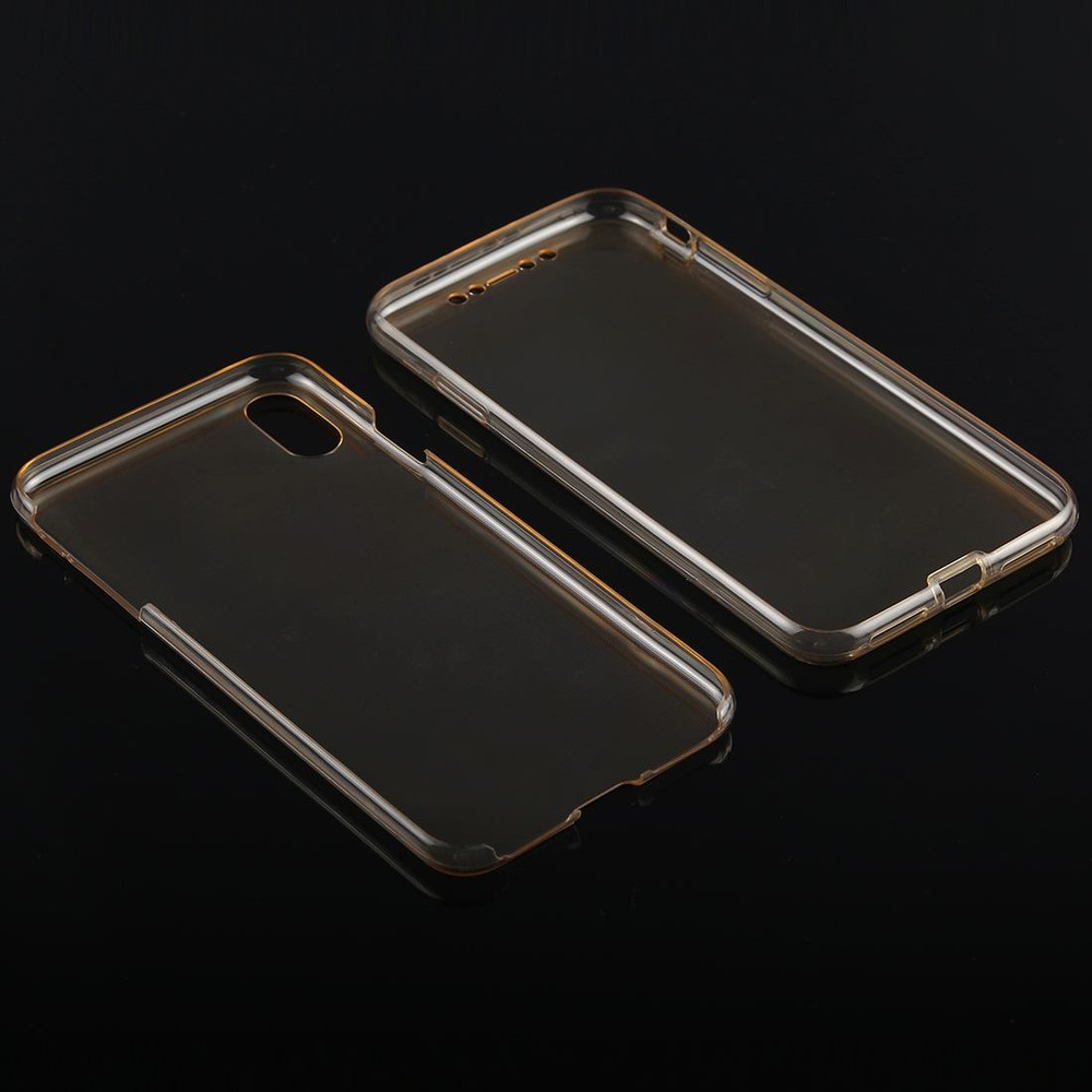 newest 0139e 39ba8 iPhone XS Max Case Gold Ultra-thin Double-sided Full Coverage Transparent  TPU Cover