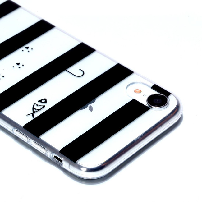 iPhone XR Case Cat in Striped Background Varnish Painting Transparent Soft TPU Back Cover | Protective Apple iPhone XR Covers | Protective Apple iPhone XR Cases | iCoverLover