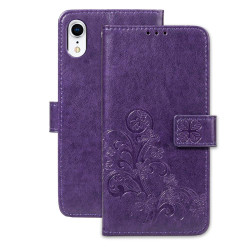 iPhone XR Case Puple Embossed PU Leather & TPU Wallet-style Cover with 2 Card Slots, Built-in Kickstand, and Magnetic Flap Closure | Leather Apple iPhone XR Covers | Leather Apple iPhone XR Cases | iCoverLover